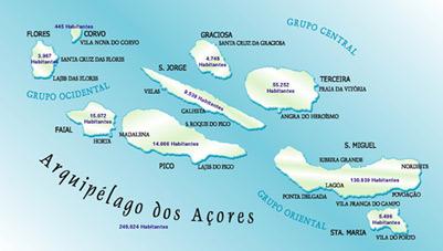 mapa arquipelago açores